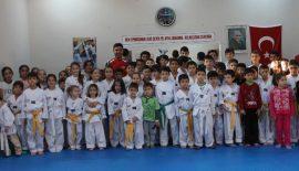 Çocuklarıyla Tekvando Kuşak Terfi Sınavına Hazırlanıyor