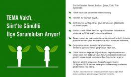 TEMA Vakfı Siirt'te Gönüllü İlçe Sorumluları Arıyor!